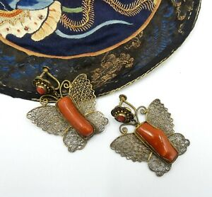 Rare Antique Chinese Large Gold Tone Filigree Butterfly Natural Coral Screwbac