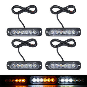 4pcs 6 Led Strobe Lights Emergency Flashing Warning Beacon Amber White 12v 24v
