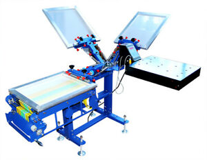 Intbuying 3 Color 1 Station Ribbon Screen Printing Press With Dryer Blue