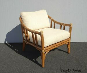 Vintage Mid Century Bamboo Rattan White Mcguire Accent Chair