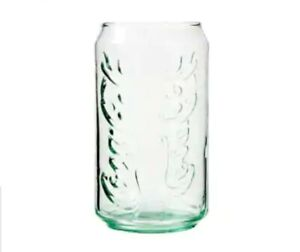 Set of 6 Coca-Cola Can-Shaped Green Glass Beverage Glasses, 12 oz.