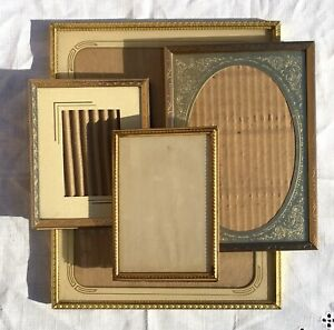 Lot Of 4 Vintage Antique Gilt Embossed Metal Picture Frames Glass Easel Stand