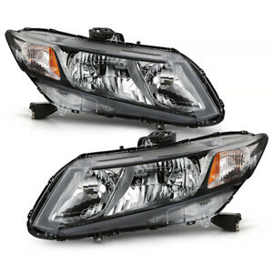 For 12 15 Honda Civic Chrome Crystal Clear Replacement Headlight Projector Lamp