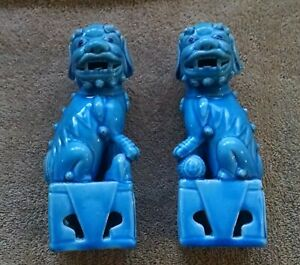 Pair Of Glazed Ceramic Foo Dogs Dragons 6 Inch Height Blue Turquoise Chinese