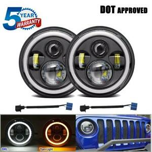 600w Dot Pair 7 Inch Round Led Headlights Halo For Jeep Wrangler Jk Tj Rubicon