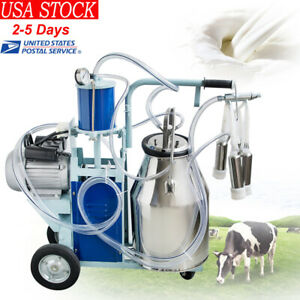 25l Electric Milking Machine For Farm Cows Cattle W bucket 12cows hour Milker Ce