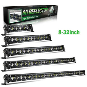 7 14 20 26 32 Inch Single Row Slim Led Work Light Bar For 4wd Car Off Road Truck