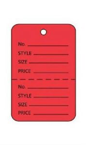 3000 Perforated Tags Price Sale 1 X 1 Two Part Red Unstrung Tag Small