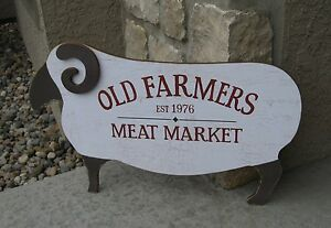Ram Sheep Meat Farmers Market Sign Primitive French Country Farmhouse Decor New