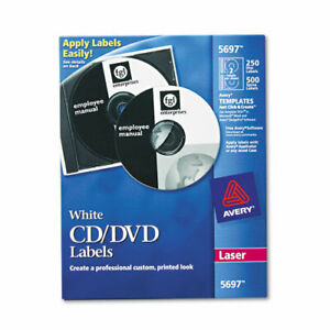 Avery Cd Labels Removable Adhesive Length Circle Laser Wh