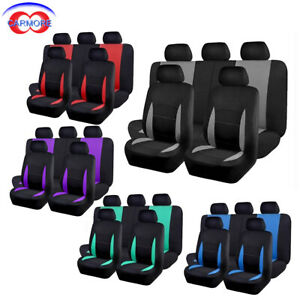 Car Seat Covers Full Set Rear Bench Cover With 3 Zippers Polyester 5 Colors