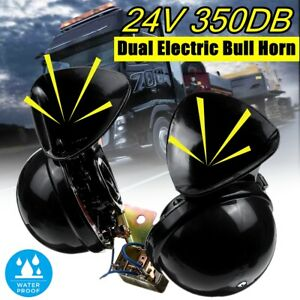 Pair 24v 350db Electric Bull Dual Air Horn Super Loud Sound Motorcycle Car Truck