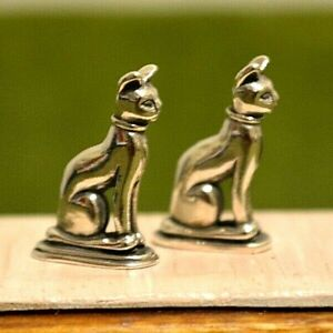 Miniature Sterling Silver Bookends Dollhouse 1 12 Cat Pair