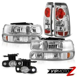 2001 2002 Silverado Z71 Euro Bumper Headlamps Red Clear Tail Lights Led Foglight