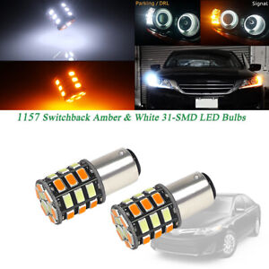 2pc White Amber 1157 2357 S25 Led Bulbs For Front Turn Signal Drl Driving Lights