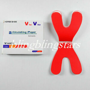 120 Sheets Dental Articulating Paper Horseshoe Rectangle Thick Strips Red Sheets