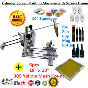 Us Manual Cylinder Screen Printing Pen Cup Press 10 Squeegee With Screen Frame