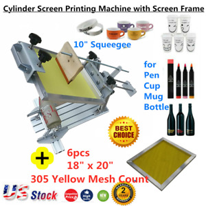 Us Manual Cylinder Screen Printing Press 10 Squeegee With Screen Frame Cup Pen