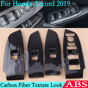 For Honda Accord 2019 Carbon Fiber Look Abs Inner Window Switch Panel Cover Trim