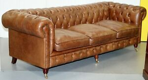Chesterfield Tufted Heritage Brown Leather 3 4 Seater Sofa Part Of A Large Suite