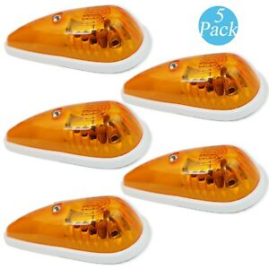 5x Amber Teardrop Sealed Top Clearance Cab Marker Roof Running Lights White Base
