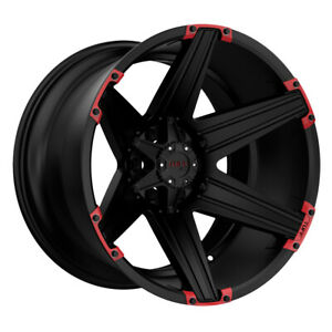 Tuff T12 20x12 6x139 7 Offset 45 Satin Black With Red Inserts Quantity Of 1