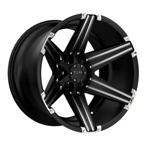 Tuff T12 22x12 8x170 Et 45 Black W Milled Spokes And Brushed Inserts Qty Of 4
