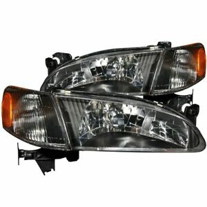Anzo Crystal Headlights Black W Corner Light 2pc For 98 00 Toyota Corolla