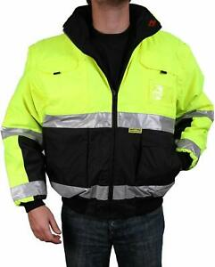 Safety Jacket Class 3 Ansi Approved 8 Pockets Reversible Removable Sleeves