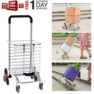 Folding Grocery Cart Stair Climber Shopping Cart With 8 Crystal Wheels