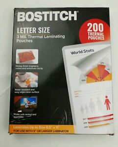 Bostitch 8 5 x11 Letter Size 3 Mil Thermal Laminating Pouches