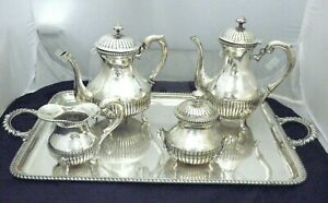 Vintage Magnificent 4 Pc Coffee Tea Set Sterling Silver 800