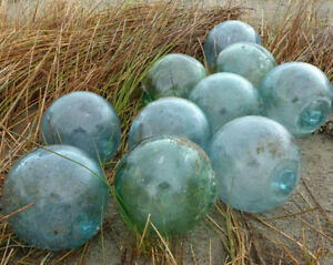 Vintage Japanese Glass Fishing Floats 4 Lot Of 10 Free Shipping