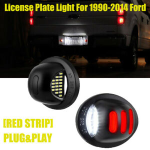 Pair Led License Plate Tag Lights Fits For Ford F150 1990 2014 Red Neon Tube