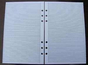 Ruled Refill For A5 6 ring Planner Organizer Insert fits Filofax