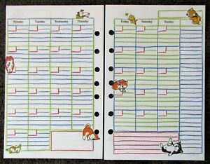 Monthly Undated Refill For A5 7 ring Planner Organizer Insert Dog cat