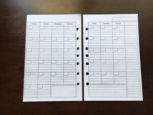 Monthly Undated Refill For A5 7 ring Planner Organizer Insert