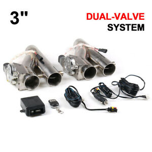23 Inch 76mm Exhaust Control E Cut Out Dual Valve Electric Y Pipe With Remote