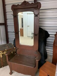 Victorian Antique Carved Ornate Hall Tree Coat Rack Stand With Seat