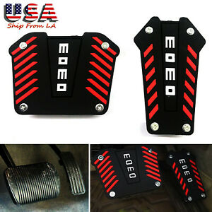 Black red Momo Style Non slip Pedal Cover For Automatic Transmission Universal