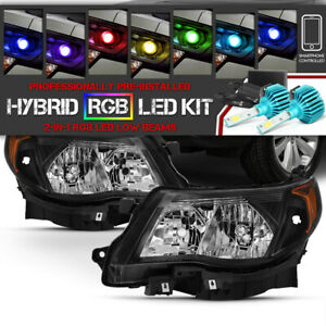 09 13 Subaru Forester Black Headlights Replacement Set built in Rgb Led Bulb