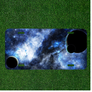 Custom Personalized License Plate Auto Tag With Cool Black Space Planets