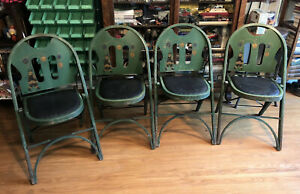Qty 4 Louis Rastetter Sons Solid Kumfort Green Antique Bentwood Folding Chairs