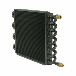 Derale Tube And Fin Engine Oil Cooler 15300 10 X 12 5 8 An Inlet outlet