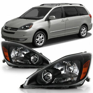 Black Housiing Headlight Replacement Driving Signal Lamp For 04 05 Toyota Sienna