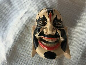 Vintage Chinese Asian Buddha Theme Hand Carved Hand Painted Wooden Mask W 10