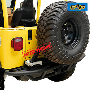 Eag Rear Bumper With Tire Carrier hitch Receiver Fit 87 06 Jeep Wrangler Tj Yj