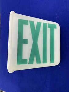 Vintage Double Sided Triangle Exit Sign Milk Glass Globe Art Deco Movie Theater