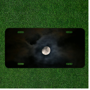 Creative License Plate Auto Tag With Cool Clouds Over Moon At Night