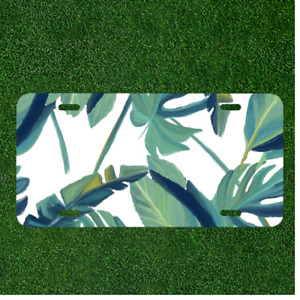 Creative License Plate Auto Tag With Cool White Green Leaves